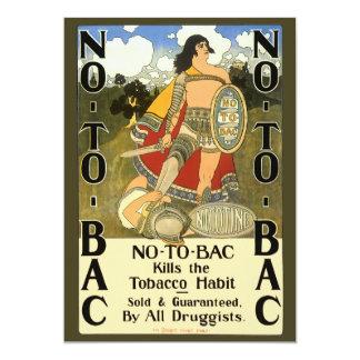Vintage Product Label Art, No To Bac, Quit Smoking 13 Cm X 18 Cm Invitation Card