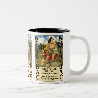 Vintage Product Label Art, No To Bac, Quit Smoking Two-Tone Coffee Mug