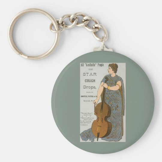 Vintage Product Label, Star Cough Drops Basic Round Button Key Ring