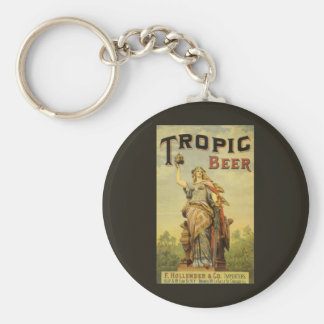 Vintage Product Label, Tropic Beer Basic Round Button Key Ring