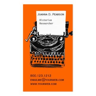 Vintage Professional Artistic Typewriter Writer Pack Of Standard Business Cards