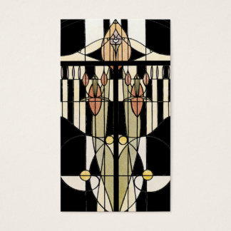Vintage Profile Card Stained Glass Panel Black
