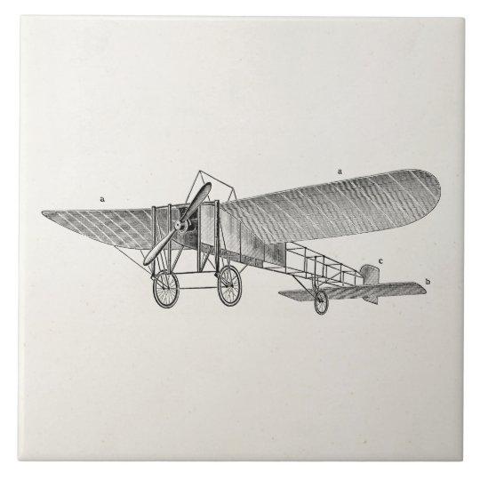 Vintage Propeller Aeroplane Retro Old Prop Plane Large Square Tile