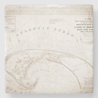 Vintage Provincetown Cape Cod Map Stone Coaster
