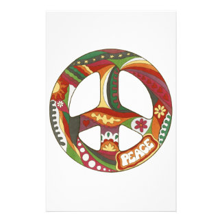 Vintage Psychedelic Peace Symbol Stationery Paper