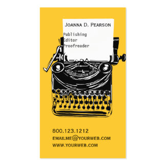 Vintage Publisher Editor The Typewriter Business Card Template