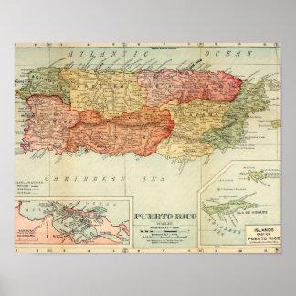 Vintage Puerto Rico Map, 1898 Print