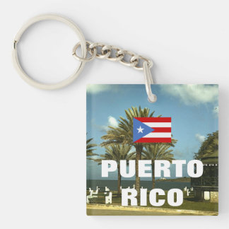 Vintage Puerto Rico Photography Double-Sided Square Acrylic Key Ring