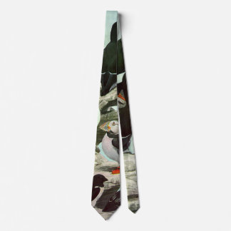 Vintage Puffins, Aquatic Bird, Marine Life Animals Tie