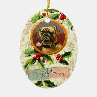 Vintage Pug Christmas Ornament