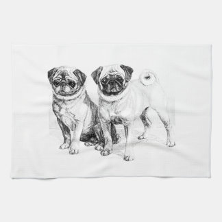 Vintage Pug Illustration Kitchen Towel