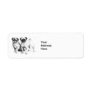 Vintage Pug Illustration Return Address Label