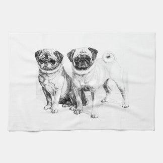 Vintage Pug Illustration Tea Towel