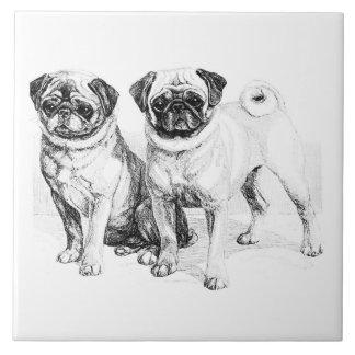 Vintage Pug Illustration Tile