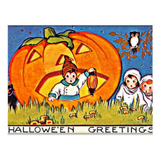 Vintage Pumpkin Halloween Greetings Postcard