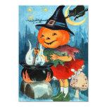 "Vintage Pumpkin Halloween Invitations 4.5"" X 6.25"" Invitation Card"