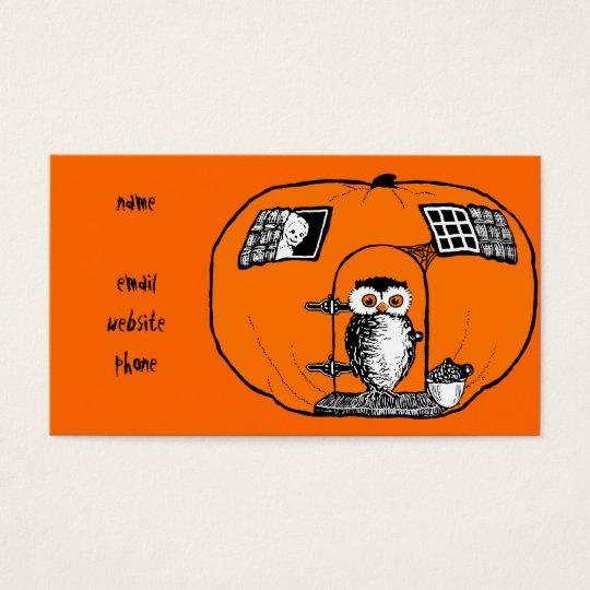 Vintage Pumpkin House Owl Business Card