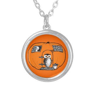Vintage Pumpkin House Owl Necklace
