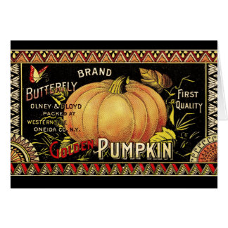 Vintage Pumpkin Label Art Butterfly Brand Card