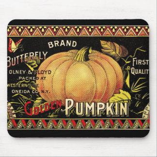 Vintage Pumpkin Label Art Butterfly Brand Mouse Mat