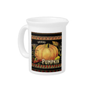 Vintage Pumpkin Label Art Butterfly Brand Pitcher