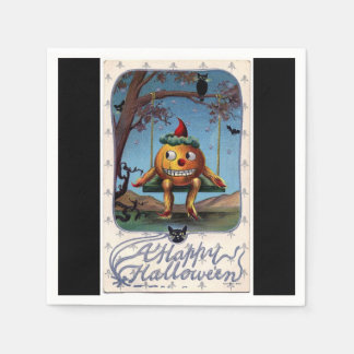 Vintage Pumpkin Man on a Swing Halloween Disposable Napkin