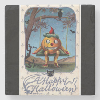 Vintage Pumpkin Man on a Swing Halloween Stone Coaster