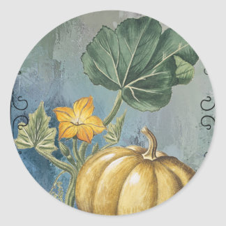 Vintage Pumpkin on Vine Classic Round Sticker