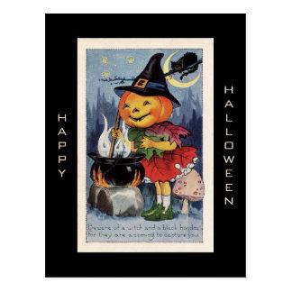 Vintage Pumpkin Witch Happy Halloween Postcard