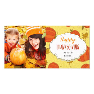 Vintage Pumpkins Thanksgiving Picture Photo Card