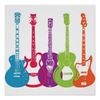 Vintage Punk Retro Guitars Poster