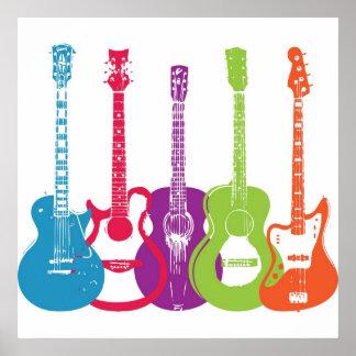 Vintage Punk Retro Guitars Poster