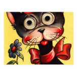 vintage punk valentine kitty postcard