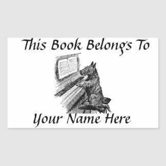 Vintage Pup and Piano Book Name Plate Rectangular Sticker