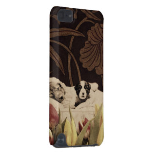 Vintage Puppies Woman Flower Grunge iPod Touch 5G Case