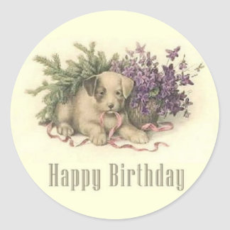 Vintage Puppy Birthday Sticker