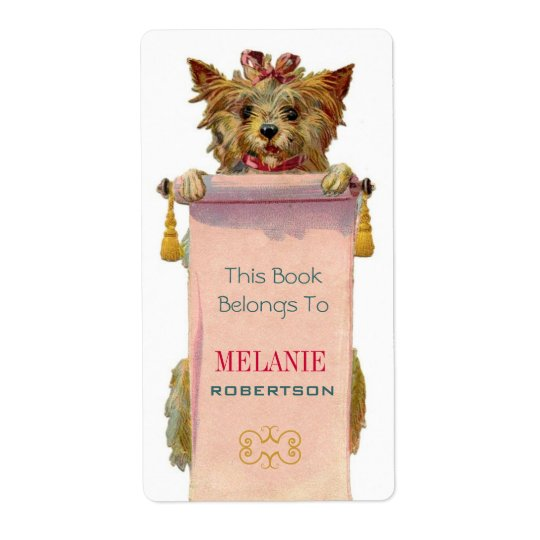 Vintage Puppy Bookplate Shipping Label