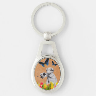 Vintage Puppy Flowers Butterfly Grunge II Silver-Colored Oval Key Ring