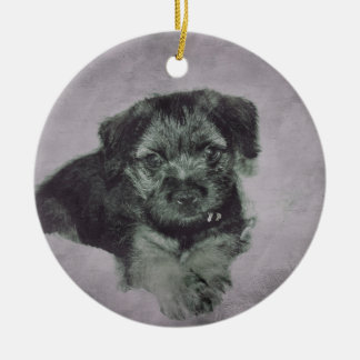 Vintage puppy round ceramic decoration
