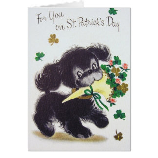 Vintage Puppy St. Patrick's Day Greeting Card
