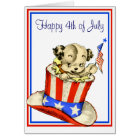 Vintage Puppy with Flag Card