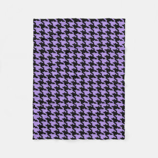 Vintage purple and black houndstooth fleece blanket
