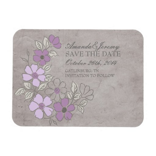 Vintage Purple and Gray Floral Save The Date Rectangle Magnets