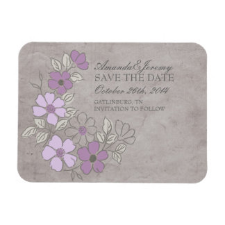 Vintage Purple and Gray Floral Save The Date Rectangular Photo Magnet