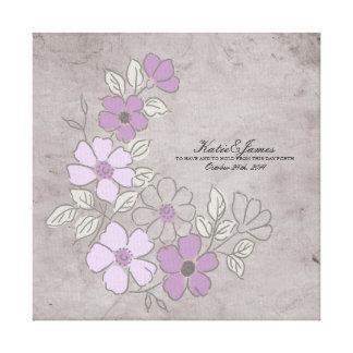 Vintage Purple and Gray Floral Wedding Gallery Wrapped Canvas