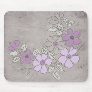 Vintage Purple and Gray Floral Wedding Mouse Mat