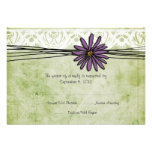 Vintage Purple and Green Daisy Wedding RSVP Invitations
