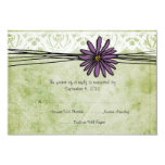 Vintage Purple and Green Daisy Wedding RSVP 9 Cm X 13 Cm Invitation Card