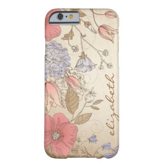 Vintage Purple and Red Flowers iPhone 6 case Barely There iPhone 6 Case