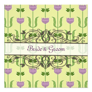vintage purple and sage green wedding invitation